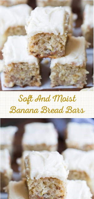 Soft And Moist Banana Bread Bars