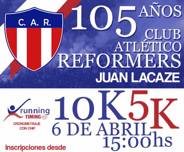 10k y 5k Aniversario 105 del Club Atlético Reformers de Juan Lacaze (Colonia, 06/abr/2019)