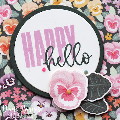 Handmade hello tri fold card made with Stampin Up Pansy Petals bundle, Pansy Garden paper and Biggest Wish stamp set. Card by Di Barnes - colourmehappydi  - stampin up demonstrator in Sydney Australia