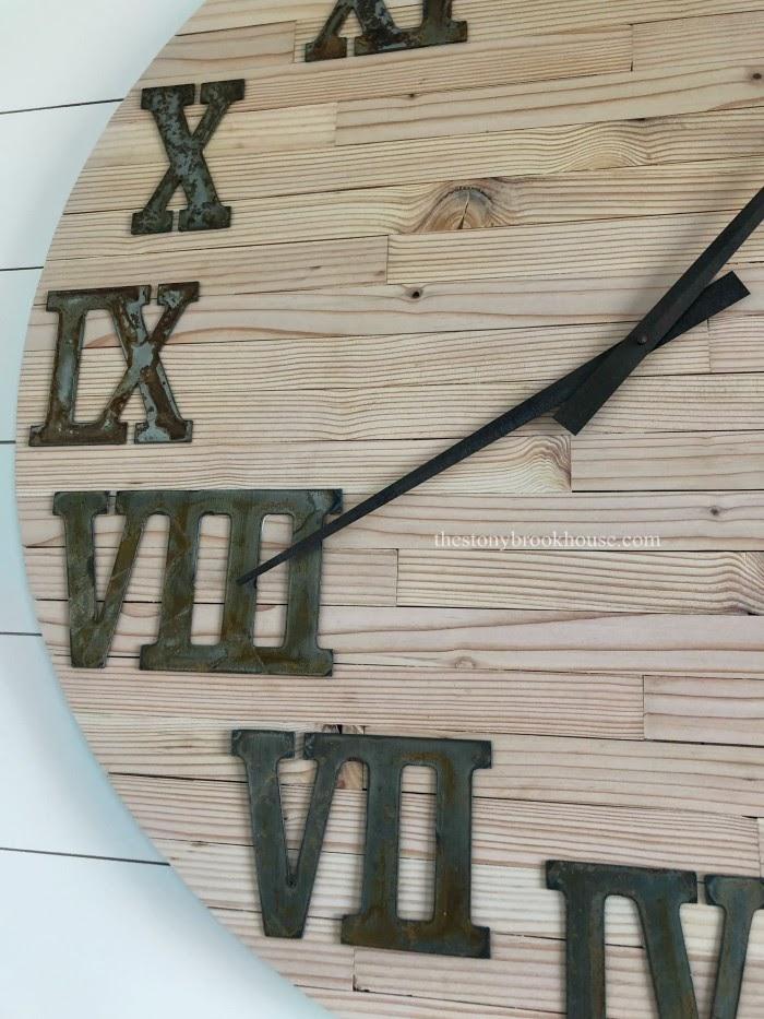 Skinny Shiplap Wall Clock Closeup numbers