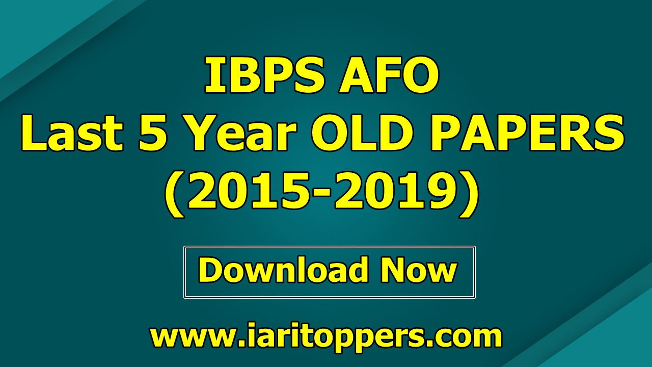 IBPS Agriculture Field Officer IBPS AFO OLD Question Paper PDF Download