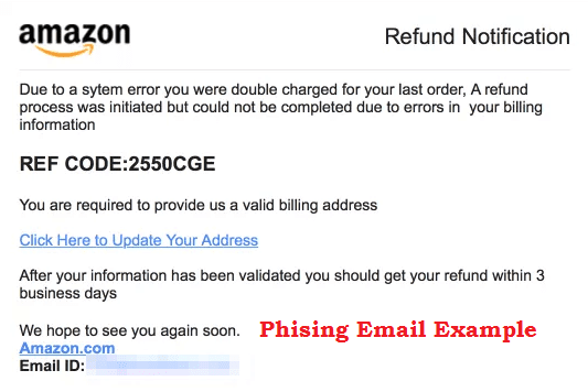 Gmail phishing email example