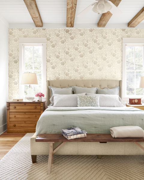 Beautiful romantic modern farmhouse style bedroom with wallpaper and inspiration on Hello Lovely Studio