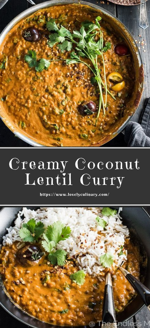 Creamy Coconut Lentil Curry #healthy #Lentilcurry