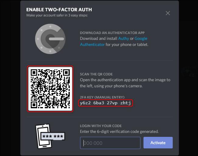 تمكين Discord 2FA Code