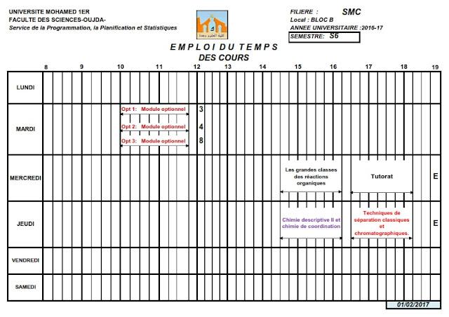 SMC S6 : Emploi du temps des Cours 2016/2017