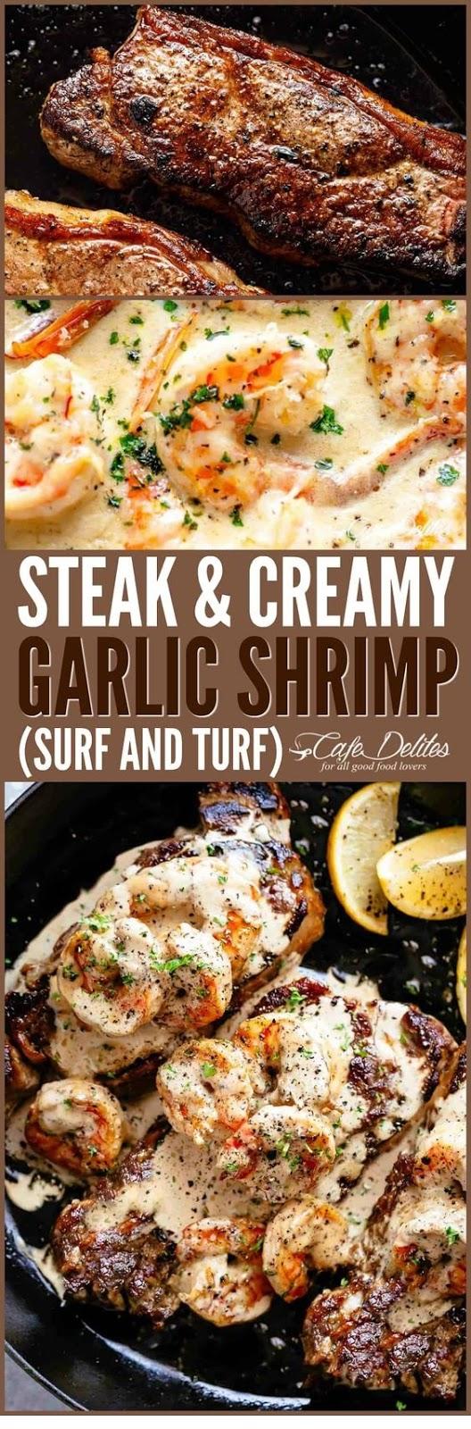 Steak And Creamy Garlic Shrimp