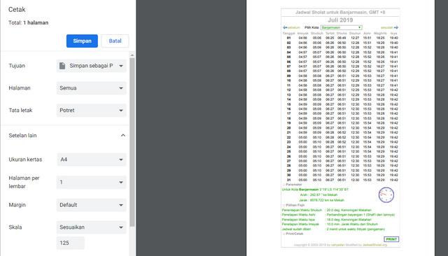 Simpan File PDF Jadwal Sholat