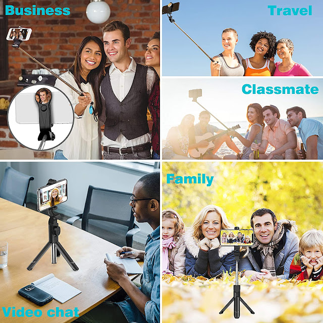 Extendable Selfie Stick Tripod with Detachable Wireless Remote