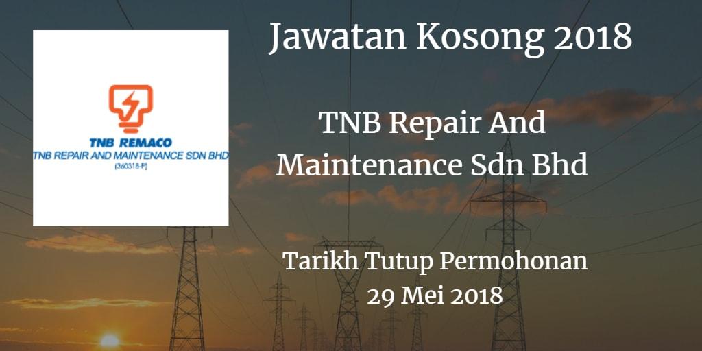 Jawatan Kosong TNB Remaco 29 Mei 2018