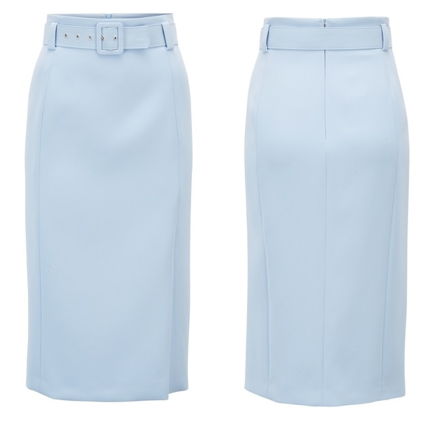 Queen Letizia of Spain was wearing her Hugo Boss Varima Belted High-waisted Skirt