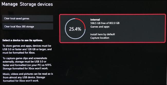 """شاشة """"إدارة أجهزة التخزين"""" على Xbox Series X."""