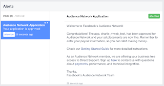 Notifikasi Persetujuan Audience Network Facebook