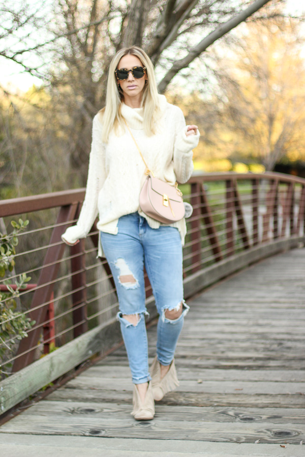 cream cozy chunky knit cowl neck sweater free people