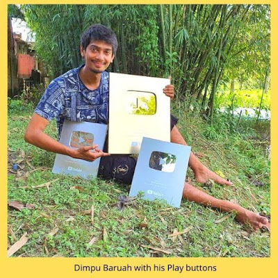 Gold Play Button of Dimpu Baruah | Assmaese youtuber