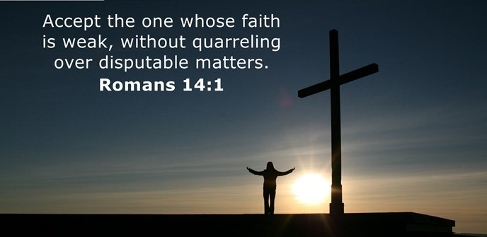 Accept the one whose faith is weak, without quarreling over disputable matters.