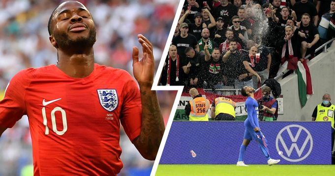Hungary fans racially abuse Raheem Sterling & Jude Bellingham by throw plastic cups