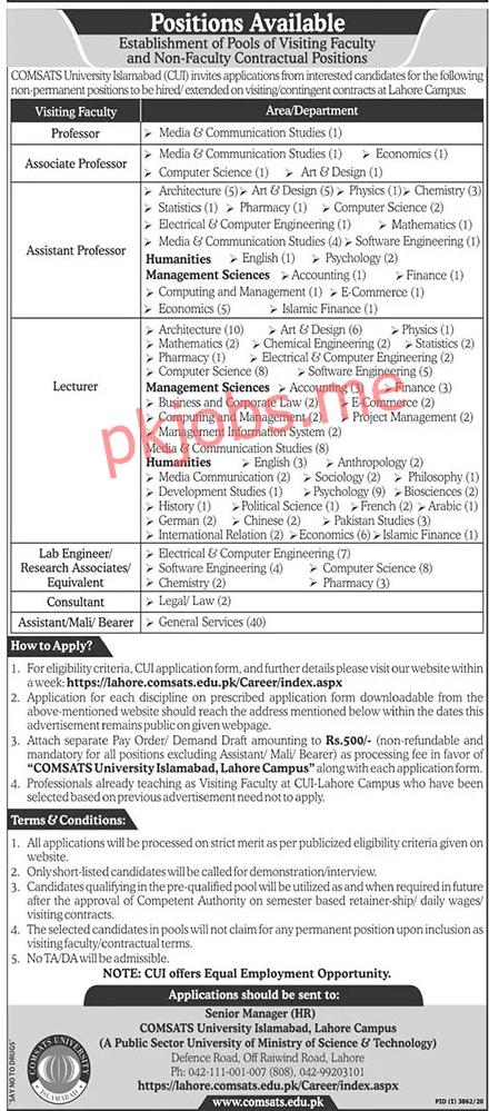 Latest Comsats University Islamabad Management Posts 2021