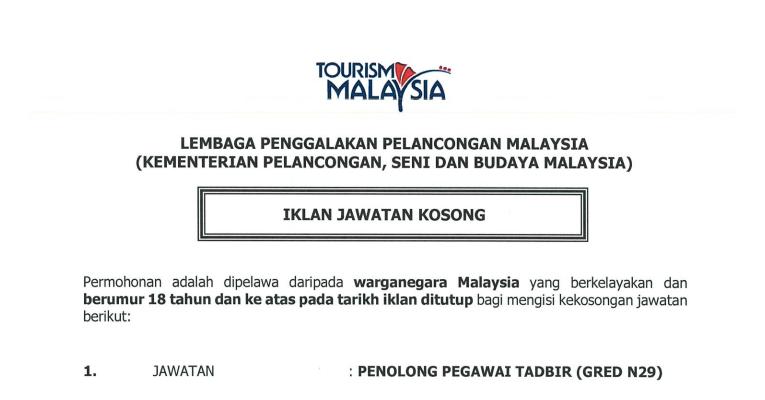 Jawatan Kosong di Tourism Malaysia