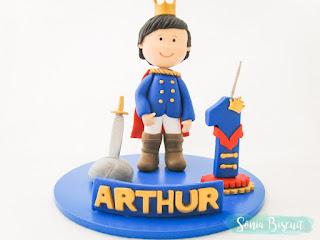 Topo de Bolo, Rei Arthur, Rei, Aniversário, Biscuit