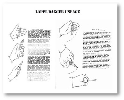 training page OSS, Thumb dagger, lapel dagger.
