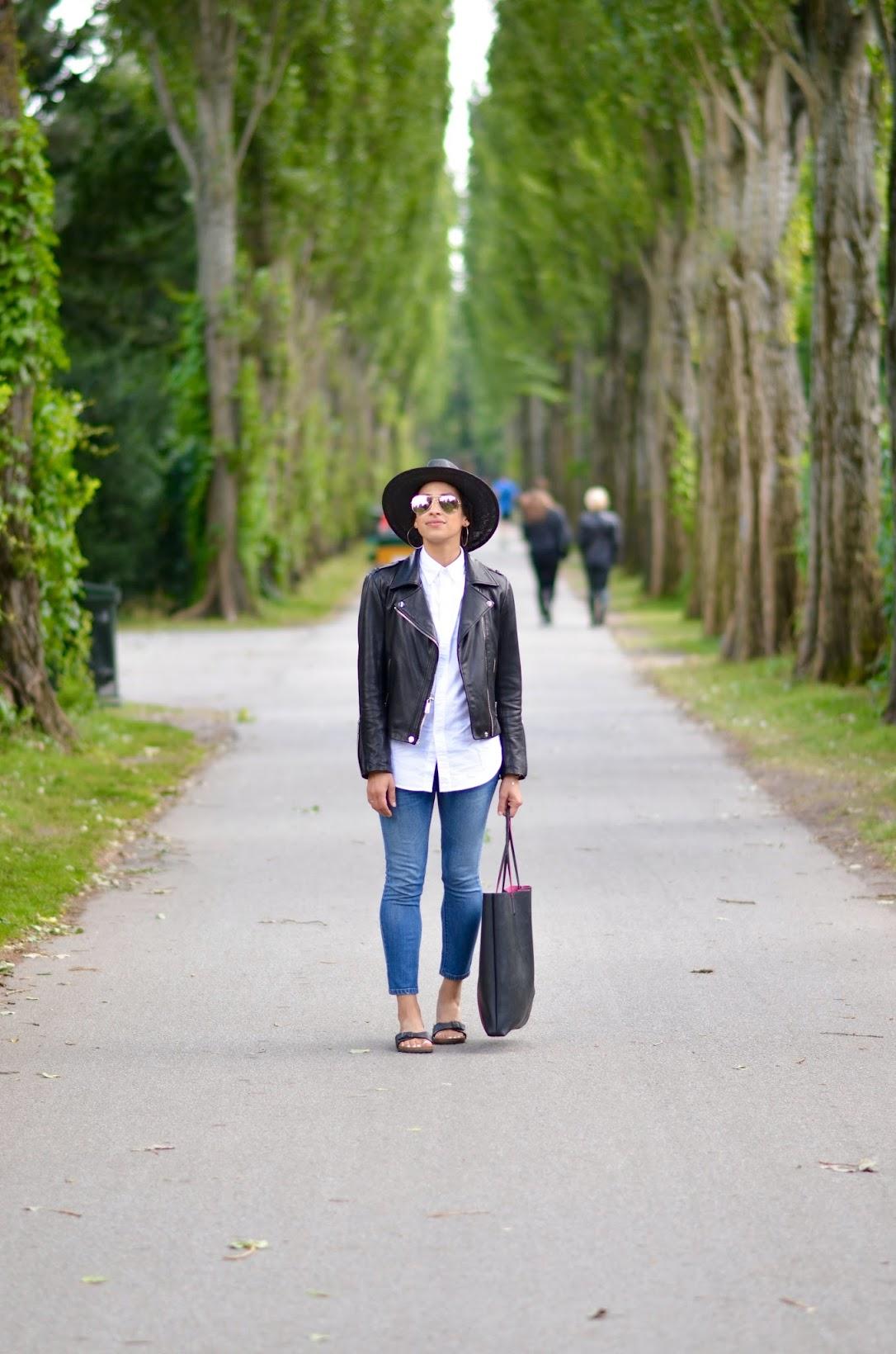 Copenhagen, Torvehallerne, street style, backpack chic, travel style, BCBG Gen leather moto jacket, Blank Denim, Birkenstocks Madrid