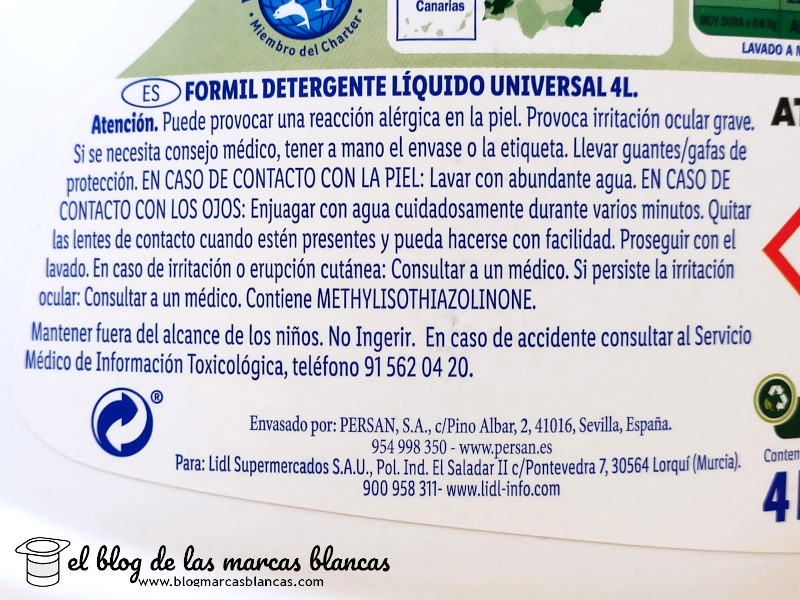 Formil, detergente líquido universal 4 litros (Lidl)