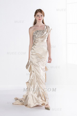 One Shoulder Beaded A-Line/Princess Cascading Ruffles Stretch Satin Evening Dress
