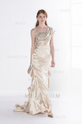 One Shoulder Beaded A-Line/Princess Cascading Ruffles Stretch Satin Evening Dress