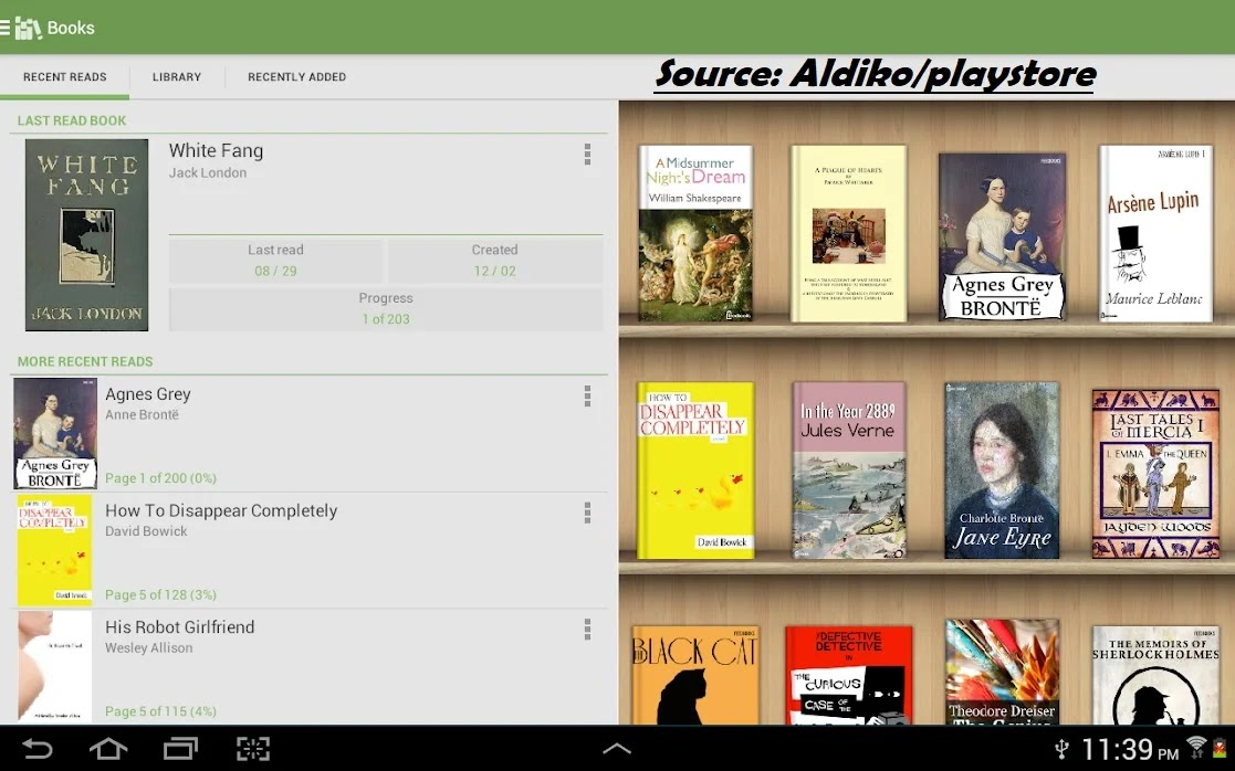 Aldiko android app for book reading