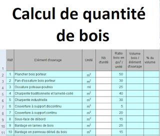 calcul quantité bois, calcul volume bois construction, tableau calcul volume bois