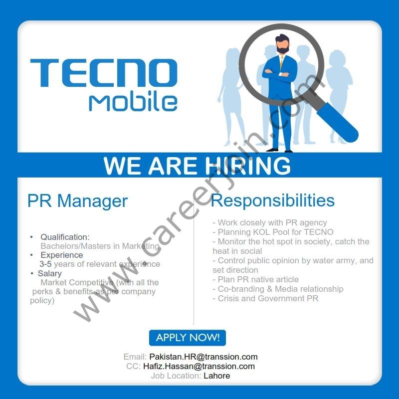 Techno Mobile Pakistan Jobs PR Manager