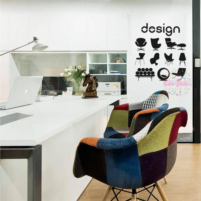 Vinilo decorativo sillas de dise o w161 cdm vinilos for Diseno vinilos