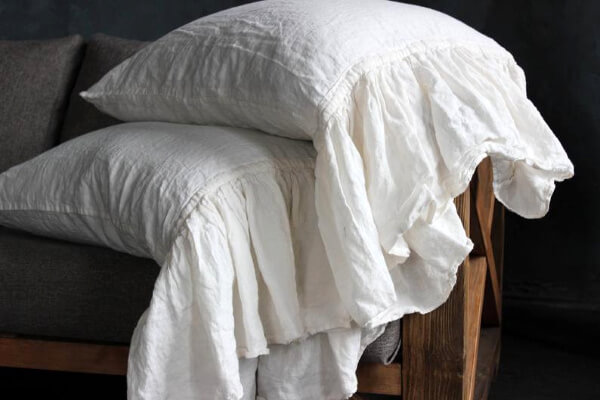 ruffled linen pillowcase