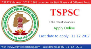 TSPSC Enlistment 2017 , 1261 vacancies for Staff Nurse and Different Posts