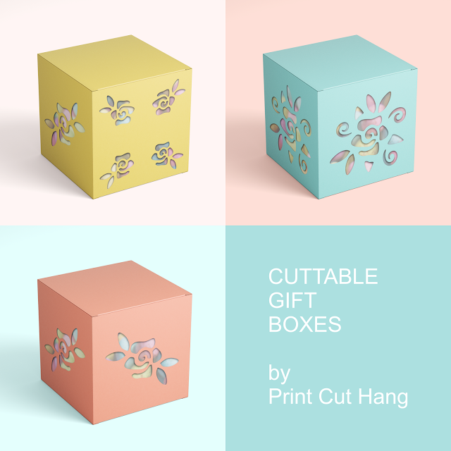Set of  3 Cuttable Gift Box Templates with Roses Holes