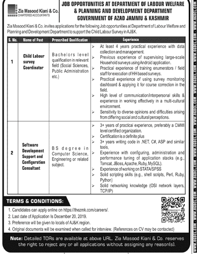 Jobs in Labour Welfare and Planning and Development Department Govt of Ajk 2019