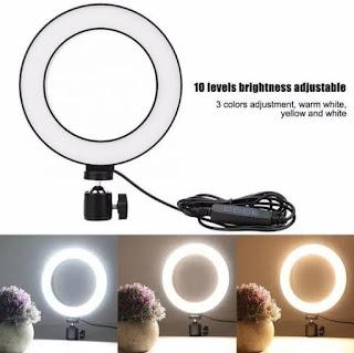 PAKET!!! Lampu Makeup Ring Light LED 16 Cm 3 Mode + Tripod Mini Besi