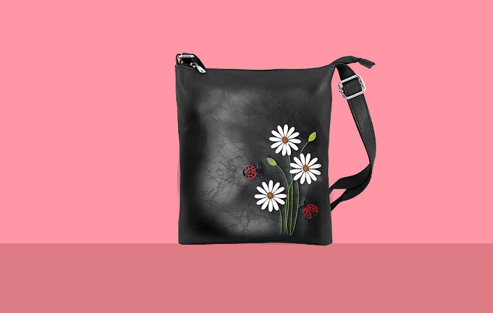 LAVISHY vegan bag with daisy flower and ladybug appliques