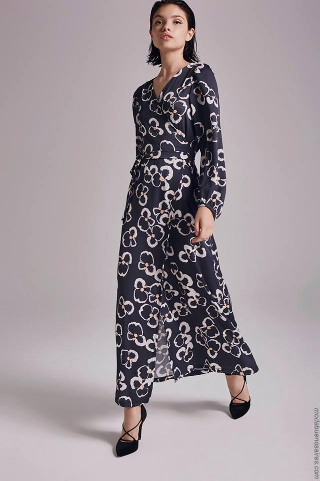 Moda otoño invierno 2019 ropa de mujer elegante y femenina.Vestidos largos invierno 2019.
