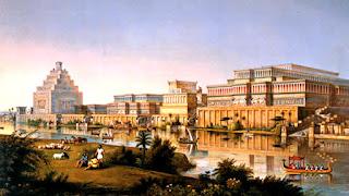 La muy noble y leal villa de Babilonia, vista desde la orilla derecha del Éufrates.