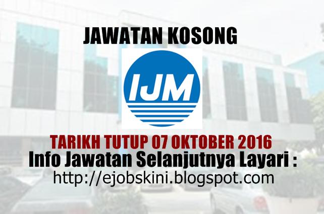 Jawatan kosong di ijm oktober 2016