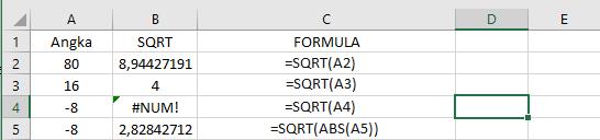 Rumus Akar Di Excel