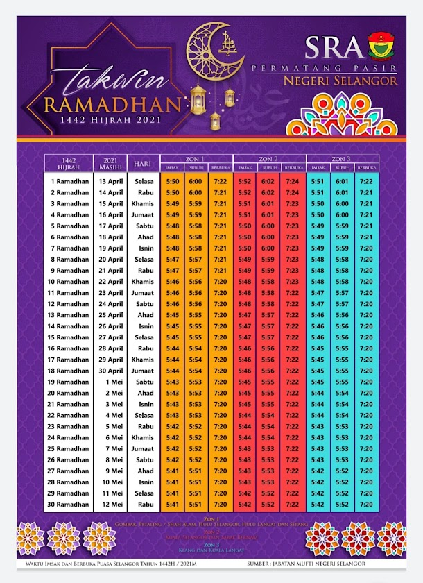Waktu Imsak dan Berbuka Puasa 1442H 2021M Selangor