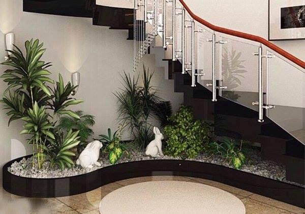 Wtsenates Extraordinary Indoor Garden Design Ideas In | Under Stair Garden Design | Plant | Ideas | House | Stair Case | Pebble Garden