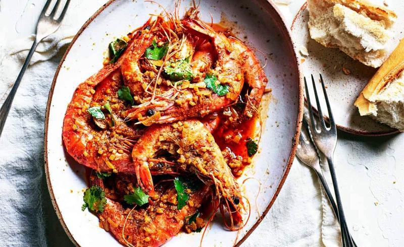 Viet-Cajun fried prawns