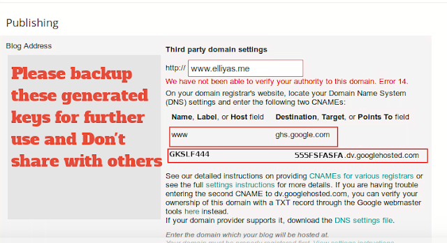 Set up Domain from Blogger Dashboard