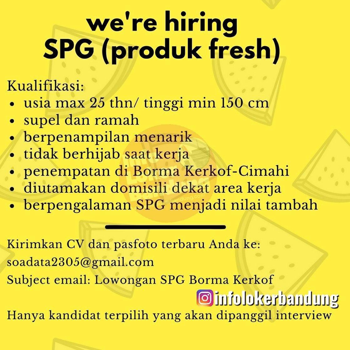 Lowongan Kerja SPG ( Profuk Fresh ) Bandung Maret 2020