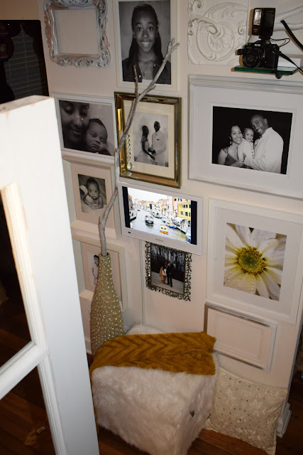 How to steps to create  portrait wall, White LED TV,chic faux fur storage ottoman, By: JoFer Interior