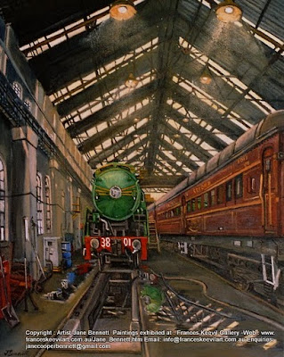 Plein air oil painting of 3801 heritage steam locomotive  steaming inside the Large Erecting Shop Eveleigh Railway Workshops painted by Jane Bennett